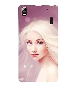 FUSON Delicate White Sensitive Girl 3D Hard Polycarbonate Designer Back Case Cover for Lenovo A7000 :: Lenovo A7000 Plus :: Lenovo K3 Note