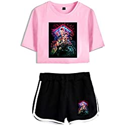 Stranger Things Suit Chaquetas y Tops Shorts Trajes Casual Camiseta de Dos Piezas y Shorts Summer Wear Chándal-A14452-7-XS