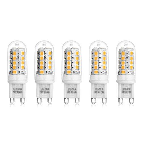 Ascher 5er Pack G9 LED Lampe,4W G9 LED Birnen, Ersatz für 40W Halogen Lampen, 450LM,Warmweiß,220-240V AC, 360° Abstrahlwinkel