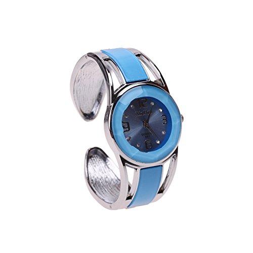 ele ELEOPTION Armband Design Quarz Uhr mit Strass Dial-Edelstahl-Band für Frauen(Hellblau)