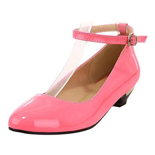 COOLCEPT Mode Femmes Talon bas Sangle de cheville Escarpinss Doux Confortable Chaussures for Ecole Filles Rose