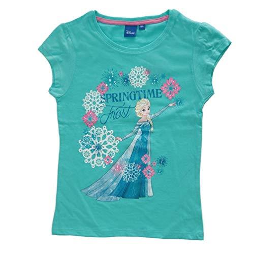 Frozen - Die Eiskönigin Disney Anna ELSA Mädchen Kinder T-Shirt Türkis, Größe:128 (8 A)