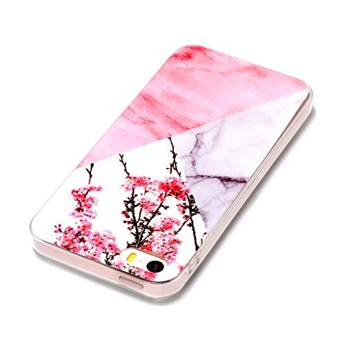 Hülle für Apple iPhone SE 5S / 5 , IJIA Marmor Muster Rosa Weiße Allmähliche Veränderung TPU Weich Silikon Handyhülle Stoßkasten Cover Schutzhülle Handytasche Schale Case Tasche für Apple iPhone SE 5S YH71
