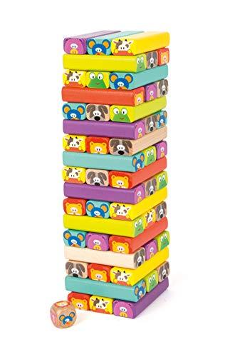 Pie pequeño de Legler Wobbling Tower Animals hecho de madera, 52 piezas de juego con caras divertidas de animales