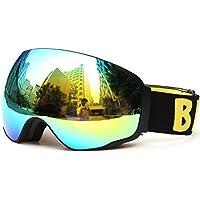 Meao Maschere da Sci con Staccabile Grandangolare Lenti Goggles Ampio Angolo di Visione Anti Fog UV 401 Protezione #4201