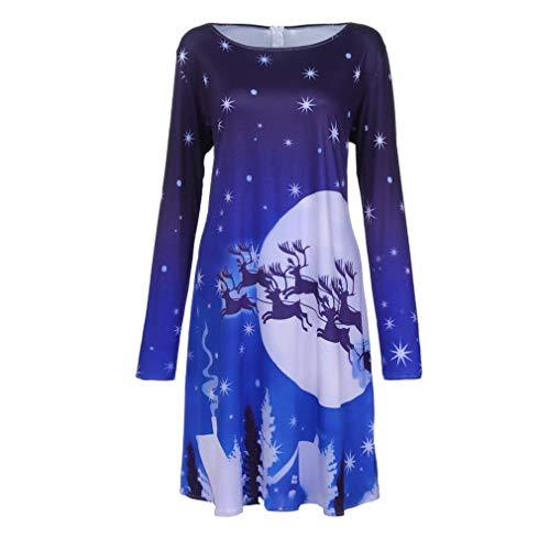 Weihnachten Kleid Damen Weihnachtskleid Sweatshirt Abendkleid Elegant Damen Lang 3D Gedruckt Kleid Langarm Rundhals Mode Frauen Vintage Kleider ABsoar