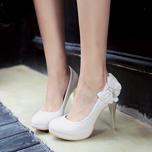 YE Damen High Heels Pumps mit Plateau und Schleife Glitzer Strass Party Office Schuhe Weiß