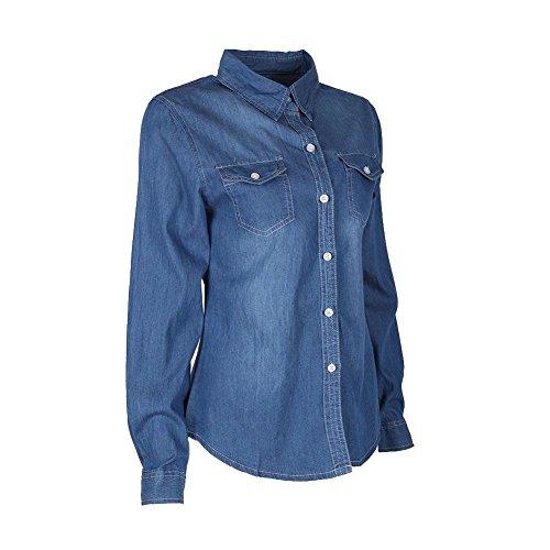 ROPALIA Denim Shirt Femme Chemisier Cardigan en Jean Manche Longue A2