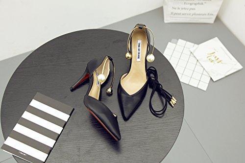 SHOESHAOGE Un Seul Mot DÉté Buckle Chaussures Pour Femmes Sandales Bandage Nue A Souligné Chaussures Noires Talon Fine Talons Rouges Couleur unie