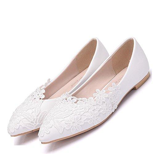 Greatonu Bailarinas Plataforma Elegante Comodida Blanca con Punta Cerrada Para Falda Ballet Mujer Talla 37 EU a1yXx6