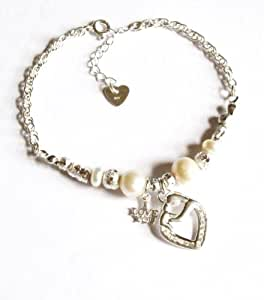 Midor925 Freshwater Cultured Pearl with 925 Sterling Silver *Mother & Child* Heart Pendant Bracelet Md001B In Gift Box