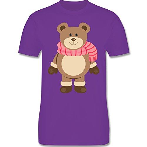 Weihnachten & Silvester - Winter Teddy mit Schal - Herren Premium T-Shirt Lila