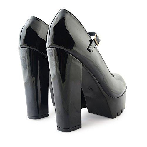 Neue Damen Dolcis Plattform High Block Heel Mary Jane Style Damen Court Schuhe Größen UK Schwarz (glänzend)