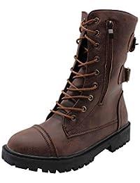 uirend Chaussures Femme Bottes et Bottines - Dames Militaire Martin Moto  Combat Ceinture Boucle Cuir Chaussures 0f7f6140d3f2