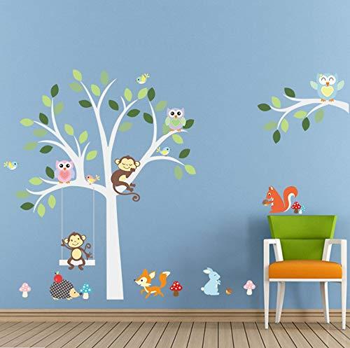 Weiß Baum Wandaufkleber Fuchs Eulen Affe Schlaf Schaukel Für Kinder Kinderzimmer Vögel Wandtattoo Vinyl Aufkleber Kinderzimmer Dekor - Weiss Jalousie Vinyl