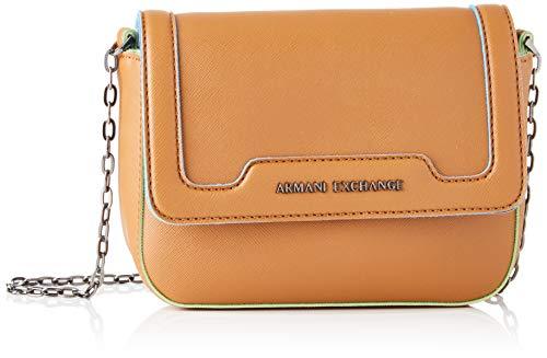 Armani Exchange Damen Crossbody Bag Colorful Schultertasche, Braun (Cognac), 15x6.5x20 cm