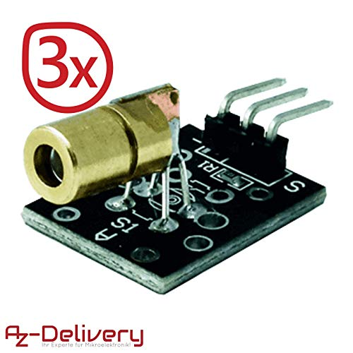 AZDelivery ⭐⭐⭐⭐⭐ 3 x KY-008 Laser Sensor Modul 650nm für Arduino