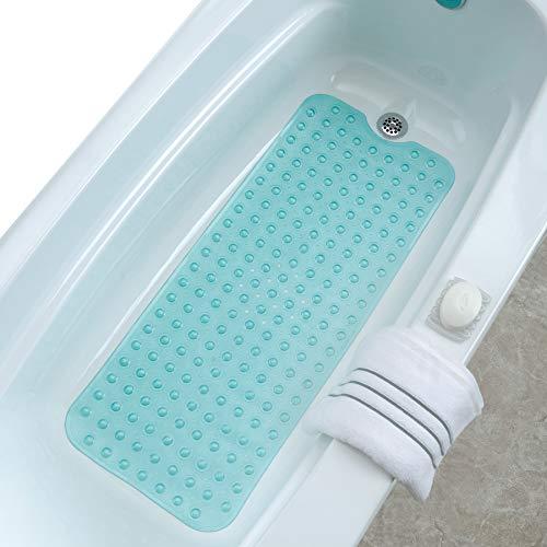 SlipX Solutions Extra Lange Badematte mit Rutschfester Auflage für Badewannen und Duschen - 30% länger als Standardmatten! (200 Saugnäpfe, 100 cm lang - verlängerter Bezug, maschinenwaschbar, Aqua)