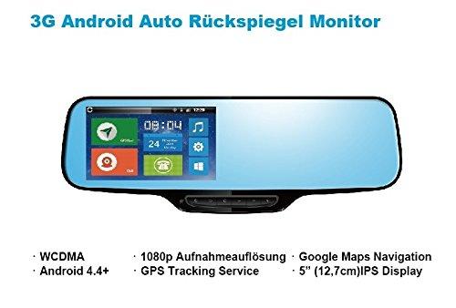 3G / GPRS Auto Rückspiegel Monitor mit Android Betriebssystem Dash Cam Autokamera Rückfahrkamera Navigationssystem GPS SIM Slot für Telefonkarte Smartphone App kostenlosesTrackingportal