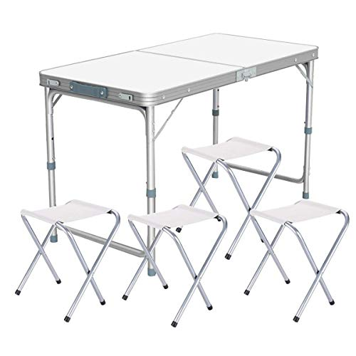 Nestling® Garten im Freien Aluminium tragbare Klapp Camping Picknick Party Feld Küche BBQ Tisch Extra Stärke Portable Indoor Outdoor,Höhenverstellbar (1.2M Table(mit 4 hockern))
