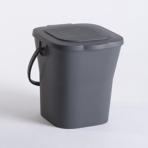 EDA 13119 G Kompost Eimer, 6 l, mit Deckel, Polypropylen, Grau, Maße 24,8 x 23,8 x 24,3 cm