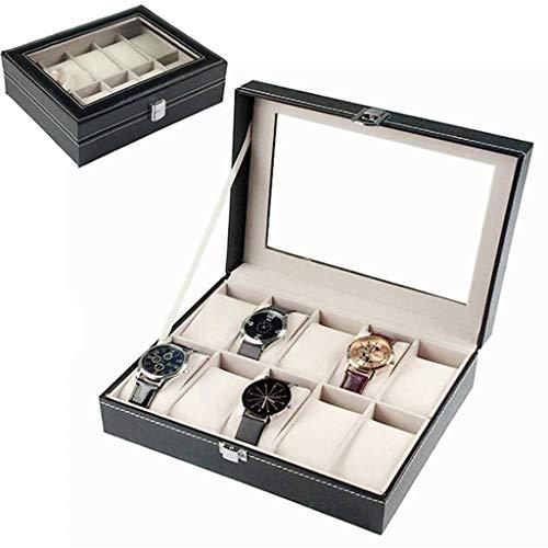 GOVD Uhrenbox Herren mit PU-Bezug Organizer Geschenkbox ideal als Geschenk, Schwarz F