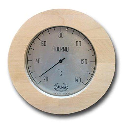 Nikkarien Sauna Thermometer rund Jumbo Birken Leimholz bis 140 Grad - Birke Parkett