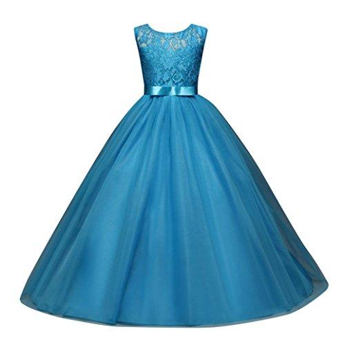 Party Dress Festlich Brautjungfern Kleid Hochzeit Partykleid mit Spitze Tüll Festzug Kinderkleidung Kinder Kleid Prinzessin Abendkleid Maxikleid Cocktailkleid (Blau, 170) (Hochzeits-blumen-mädchen-kleider)