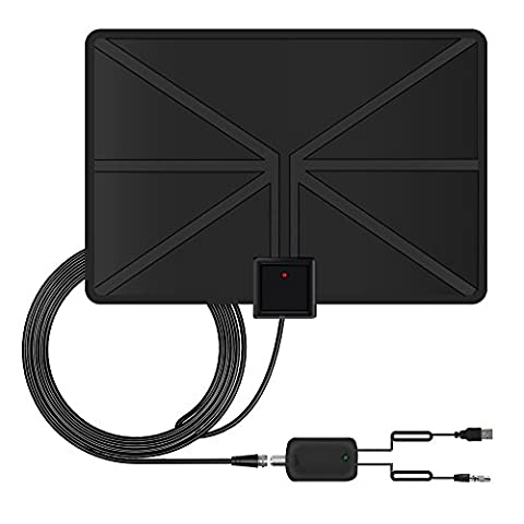 HDTV Aerial, Coolsen Amplified Indoor TV Aerial 50 Miles Range TV Antenna with Signal Amplifier Booster for Freeview Channels, VHF/ UHF/ FM, 13ft Coaxial Cable (Black)