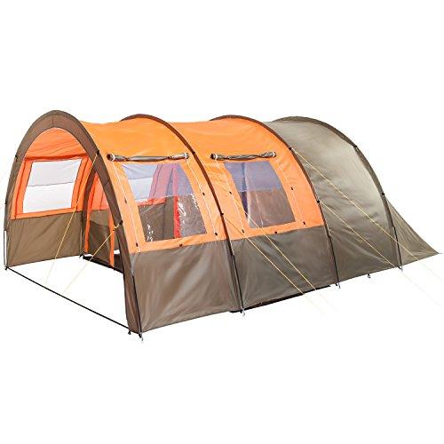 Skandika Kemi 4 Personen Tunnelzelt, Familien Gruppen Zelt mit versetzbarer Wand, Sonnendach, 2 Schlafkabinen, 3000 mm Wassersäule, dunkeloliv/orange