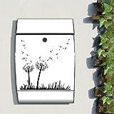motivx Design bunt bedruckt Wandbriefkasten Arcus Edelstahl Briefkasten mit Motiv - Pusteblumen SW