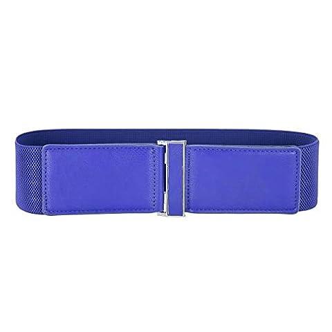 Damen Vintage Leder Metall Haken Gürtel Elastische Gürtel für Kleider Blau L CL466-4