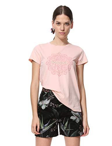 Desigual T-Shirt Short Sleeve Manchester Woman Pink, Camiseta para Mujer, (Rosa Carnal 3055), L