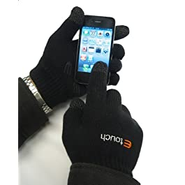 Etouch Touchscreen Gloves, for iPhone, iPad, Blackberry, Samsung, HTC and other smartphones, PDA's & Sat navs, Black