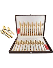 Shapes Gracia Titanium coated Gold Cutlery set of Spoons & Forks 24 Pcs. With box (Dk)