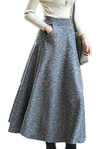 Sevozimda Gonne Lunghe da Donna Eleganti con Gonna A Vita Alta da Ufficio Grey XL