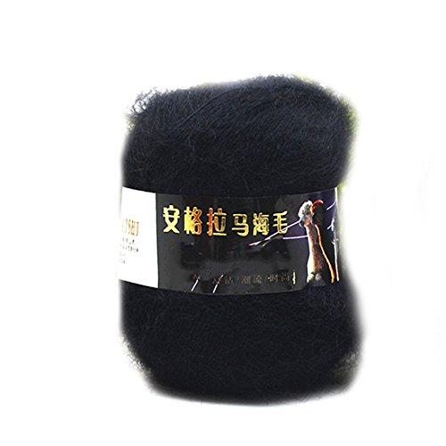 2016 Art und Weise weiche Luxus Mohair Wollstrickgarn Pullover Schal Strickwolle Schwarz -