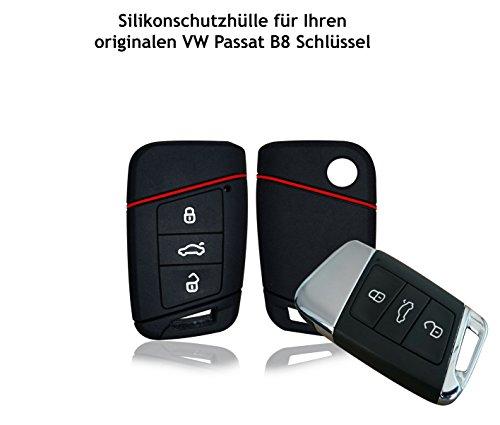 Hülle für VW Passat B8 Typ 3G 3-Tasten Autoschlüssel – Silikon Schlüssel Schutzhülle in Schwarz – Etui Schlüsselhülle Cover für Klappschlüssel (schwarz)
