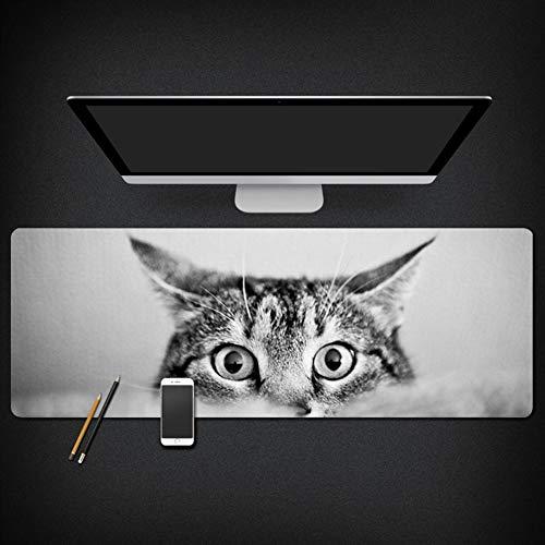 Pad mit Verstärkte Kanten Schreibtischunterlage Stoffmauspad Wasserdicht Anti Rutsch Matte für Maus und Tastatur Katze 1 40x90cm ()