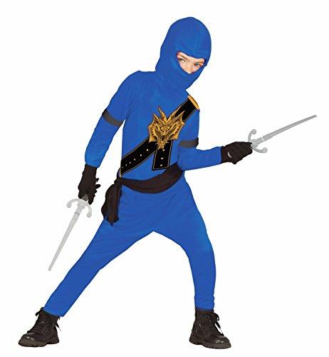 Ninja Kostüm für Kinder blau-schwarz mit Dragon-Print - Ninja Kostüm für Kind Jungen schwarz blau (110/116) (Ninja Jungen-kostüm)