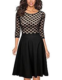 Miusol Damen Elegant Abendkleid Vintage 50er Kleider mit Polka Dots Spitze Partykleid 3/4 Arm Knielang Rockabilly Kleid Schwarz Gr.S-XXL