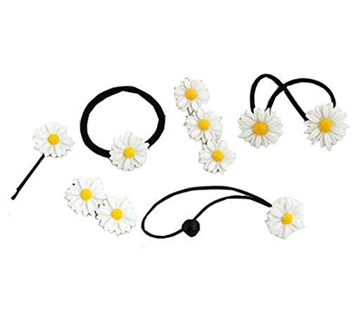 Mini-pferdeschwanz-halter Schwarzes (Lucky staryuan ® Prime Deals 6 Stücke Frau Mädchen Gänseblümchen Haar Clips elastisch Haar Band Haar Seil Set (elegant Stil))