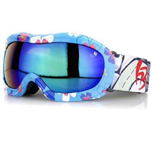 Occhiali da sci per bambini-Fiori blu