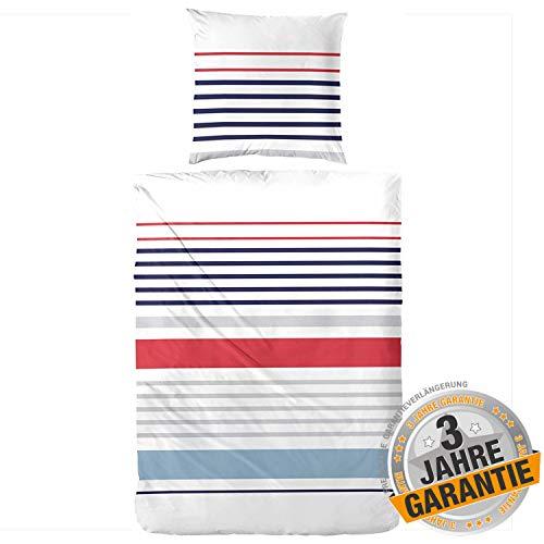Aminata kids Premium Bettwäsche Streifen 135 x 200 cm + 80 x 80 cm aus Baumwolle mit Reißverschluss ist weich und kuschelig, blau, weiß & rot