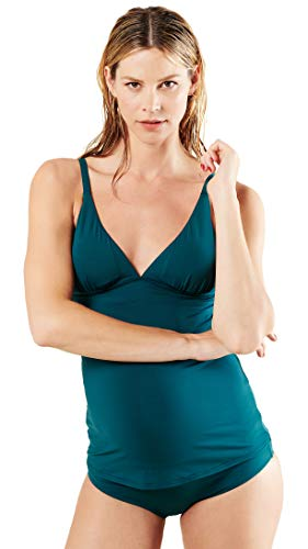 Noppies Damen Umstands Tankini top Lily AOP (40 (Herstellergröße: XL/XXL), Deep Teal (P089)) -