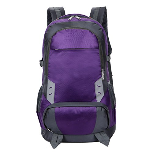 LQABW Schulter Male Reise Multisportreise Große Kapazitäts-Multifunktionswasserdicht Praktische Mountaineering Rucksack Tasche Purple