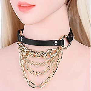 YUWANG Vintage Metal Necklace Collar Nightclub Boom Alternative Jewelry Adult Toy Fun Collar Free Adjustment Buckle, Black   8