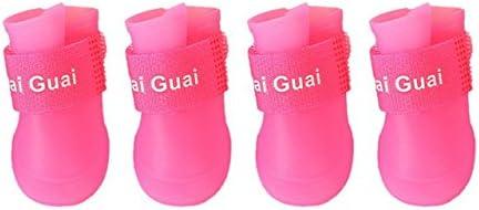 Veena Pink S Colorful 4PcsSet Pet Dog Shoes Pet Boots Pu Waterproof Booties Rain Shoes Antislip Rubber Puppy Shoes Cat Rain Shoes for Dog