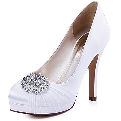 ElegantPark HC1609P Women Pumps Closed Toe Platform High Heel Buckle Chiffon Satin Evening Wedding Court Shoes White UK