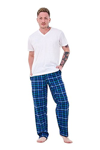 New Mens Pyjama Bottoms Rich Cotton Woven Check Lounge Pants Nightwear M to 5XL